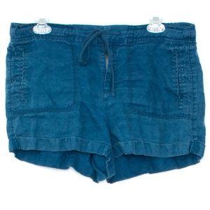 Lou & Grey LINEN Blue Drawstring Shorts Medium A2